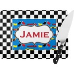 Checkers & Racecars Rectangular Glass Cutting Board (Personalized)
