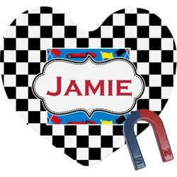 Checkers & Racecars Heart Fridge Magnet (Personalized)
