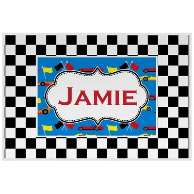 Checkers & Racecars Laminated Placemat w/ Name or Text