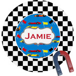 Checkers & Racecars Round Magnet (Personalized)