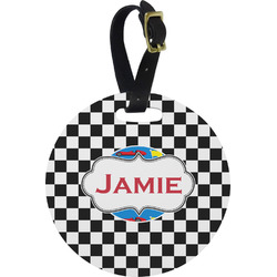 Checkers & Racecars Round Luggage Tag (Personalized)