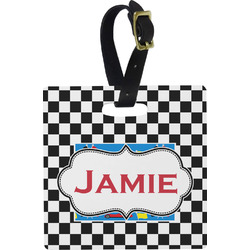 Checkers & Racecars Square Luggage Tag (Personalized)