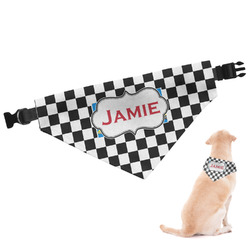 Checkers & Racecars Dog Bandana - Large (Personalized)