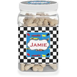 Checkers & Racecars Dog Treat Jar (Personalized)