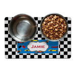 Checkers & Racecars Dog Food Mat (Personalized)
