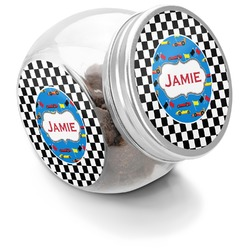 Checkers & Racecars Puppy Treat Jar (Personalized)