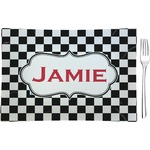 Checkers & Racecars Glass Rectangular Appetizer / Dessert Plate - Single or Set (Personalized)