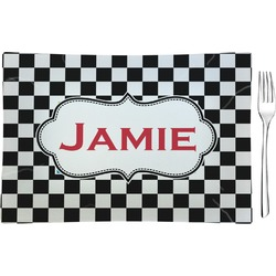 Checkers & Racecars Rectangular Glass Appetizer / Dessert Plate - Single or Set (Personalized)