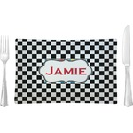 Checkers & Racecars Glass Rectangular Lunch / Dinner Plate - Single or Set (Personalized)
