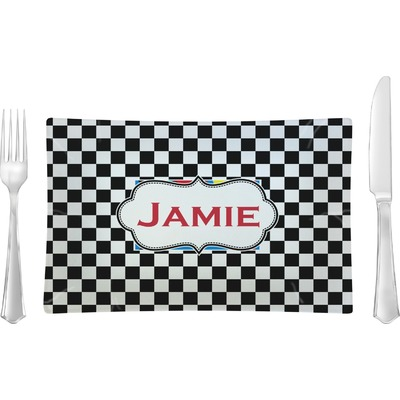 Checkers & Racecars Rectangular Glass Lunch / Dinner Plate - Single or Set (Personalized)
