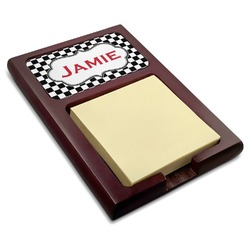 Checkers & Racecars Red Mahogany Sticky Note Holder (Personalized)