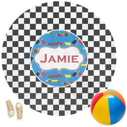 Checkers & Racecars Round Beach Towel (Personalized)