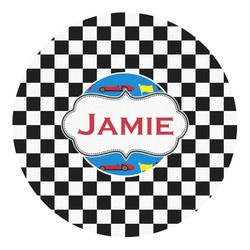 Checkers & Racecars Round Decal - Custom Size (Personalized)