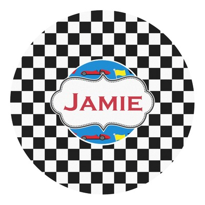 Checkers & Racecars Round Decal (Personalized)