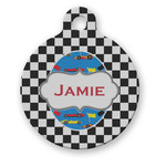 Checkers & Racecars Round Pet Tag (Personalized)