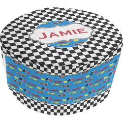 Checkers & Racecars Round Pouf Ottoman (Personalized)