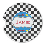 Checkers & Racecars Sandstone Car Coasters (Personalized)