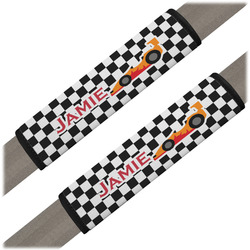 Checkers & Racecars Seat Belt Covers (Set of 2) (Personalized)