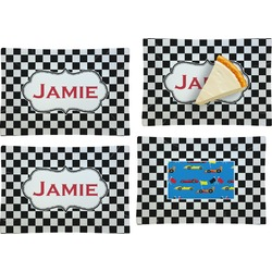 Checkers & Racecars Set of 4 Glass Rectangular Appetizer / Dessert Plate (Personalized)