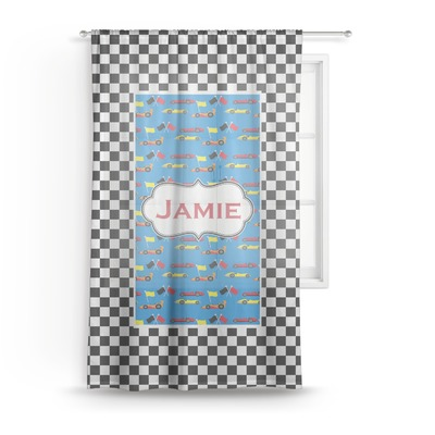 "Checkers & Racecars Sheer Curtain - 50""x84"" (Personalized)"
