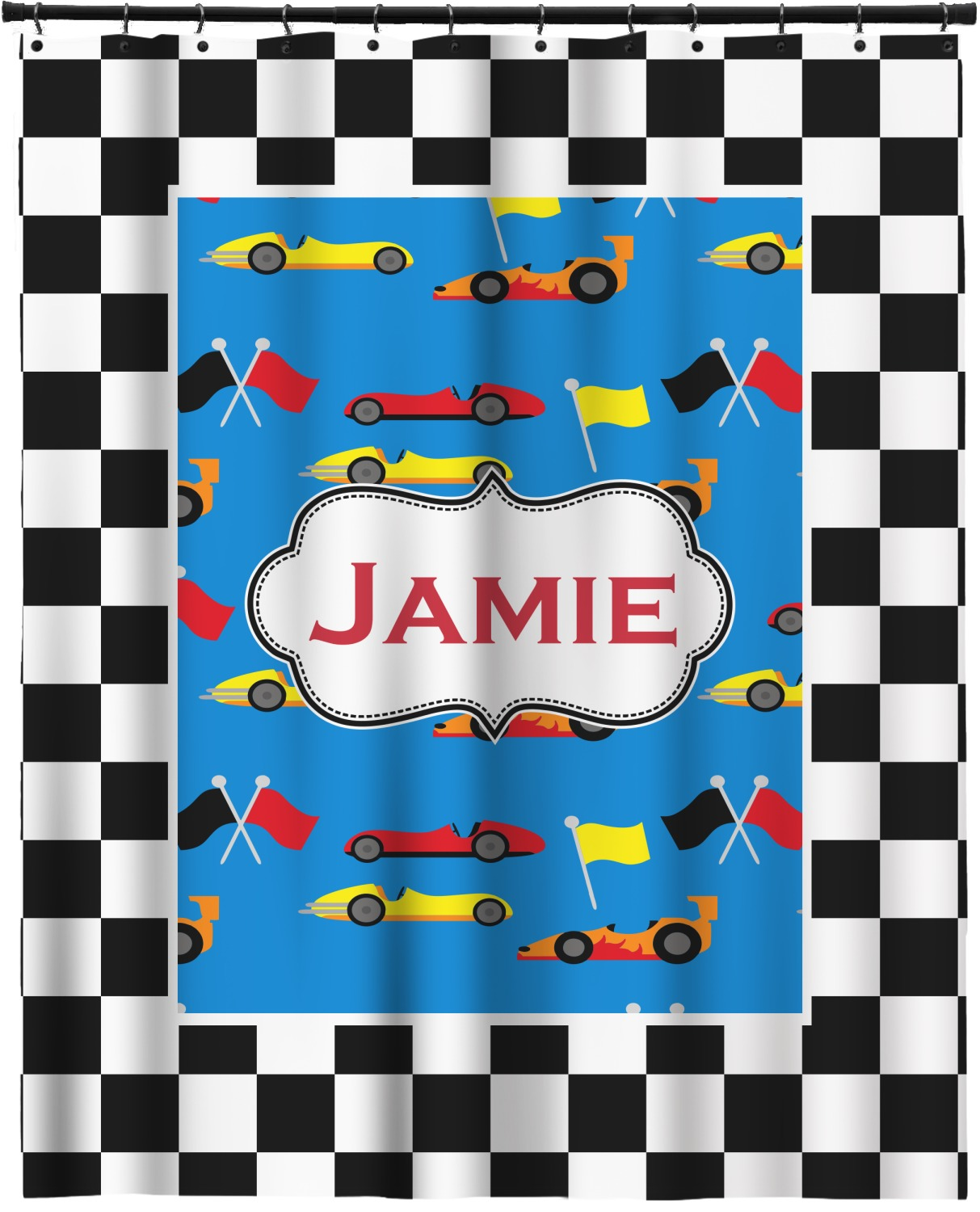 Checkers racecars extra long shower curtain 70 x90 for Race car shower curtain
