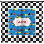 Checkers & Racecars Shower Curtain (Personalized)