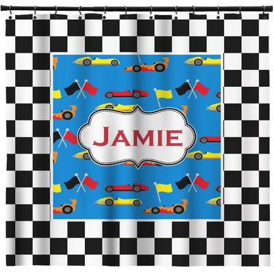 Checkers racecars shower curtain 69 x70 personalized for Race car shower curtain
