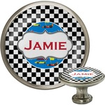 Checkers & Racecars Cabinet Knob (Silver) (Personalized)