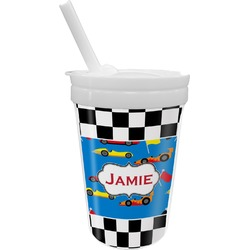 Checkers & Racecars Sippy Cup with Straw (Personalized)
