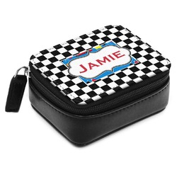 Checkers & Racecars Small Leatherette Travel Pill Case (Personalized)