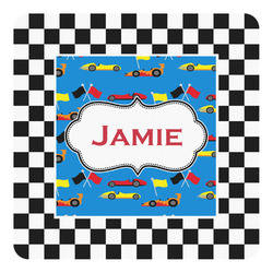 Checkers & Racecars Square Decal - Custom Size (Personalized)