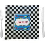 "Checkers & Racecars Glass Square Lunch / Dinner Plate 9.5"" - Single or Set of 4 (Personalized)"
