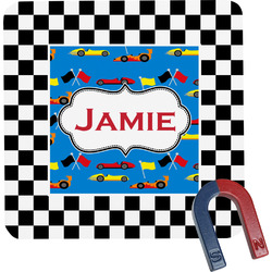 Checkers & Racecars Square Fridge Magnet (Personalized)