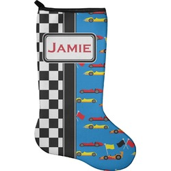 Checkers & Racecars Christmas Stocking - Neoprene (Personalized)