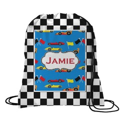 Checkers & Racecars Drawstring Backpack (Personalized)