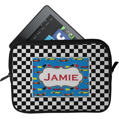Checkers & Racecars Tablet Case / Sleeve - Small (Personalized)
