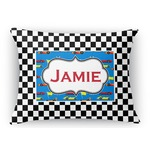 Checkers & Racecars Rectangular Throw Pillow Case (Personalized)