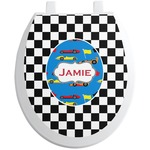 Checkers & Racecars Toilet Seat Decal (Personalized)