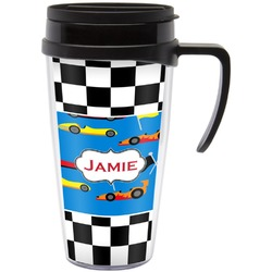 Checkers & Racecars Travel Mug with Handle (Personalized)