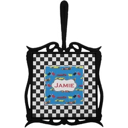 Checkers & Racecars Trivet with Handle (Personalized)