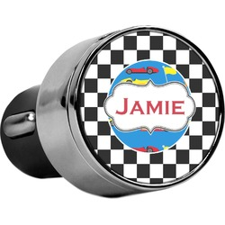 Checkers & Racecars USB Car Charger (Personalized)