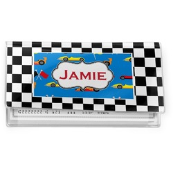 Checkers & Racecars Vinyl Check Book Cover (Personalized)
