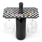 Checkers & Racecars Wine Bottle & Glass Holder (Personalized)
