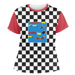 Checkers & Racecars Women's Crew T-Shirt (Personalized)