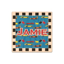 Checkers & Racecars Genuine Wood Sticker (Personalized)