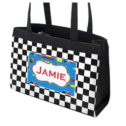 Checkers & Racecars Zippered Everyday Tote (Personalized)