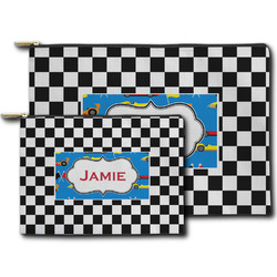 Checkers & Racecars Zipper Pouch (Personalized)