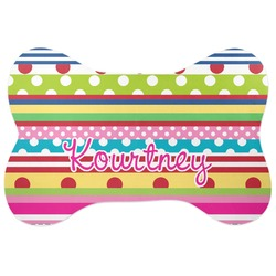 Ribbons Bone Shaped Dog Food Mat (Personalized)