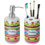 Ribbons Bathroom Accessories Set (Ceramic) (Personalized)