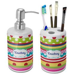 Ribbons Ceramic Bathroom Accessories Set (Personalized)
